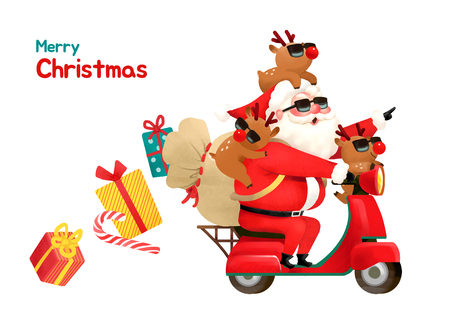 Present Delivery Santa Claus concept Vector Illustration, Christmas and New Year Banner. 001