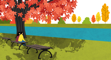 Vector of autumn landscape, colorful background 011