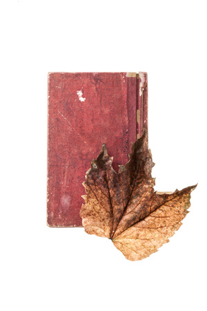 A vintage book under a maple leaf isolated on white background