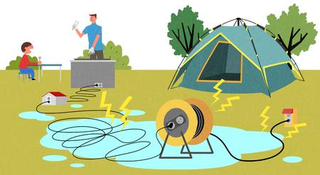 Camping safety regulations Vector illustration.