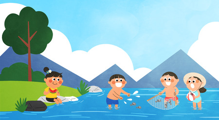Vector - Childrens Summer Vacation illustration with children at the beach.  イラスト・ベクター素材