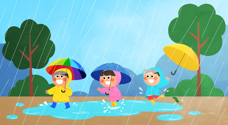 Vector - Childrens Summer Vacation illustration with children playing in the rain.