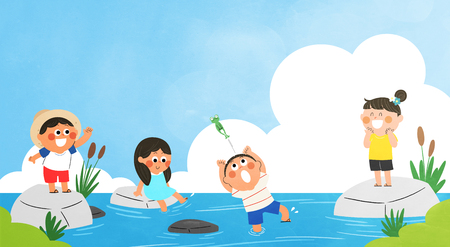Vector - Children's Summer Vacation illustration  with children playing.