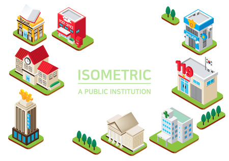 Isometric city - Concept of isometric object, set of the isometric vector illustration