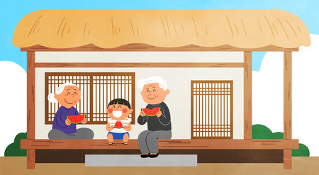 Vector - Children's Summer Vacation illustration with child and grandparents. Illustration