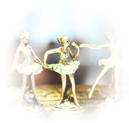 Group of silver ballerina shape decoration