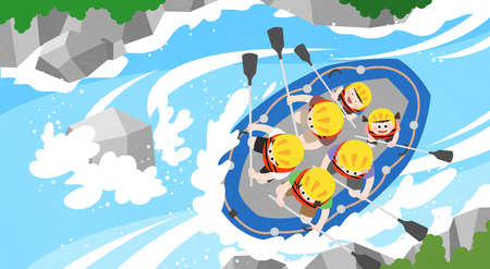 Happy family in trip local fair in spring and summer season vector illustration.