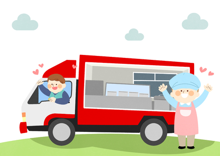 Van with loving people vector illustration