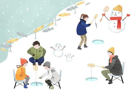 Illustration of people Enjoying winter season Illustration
