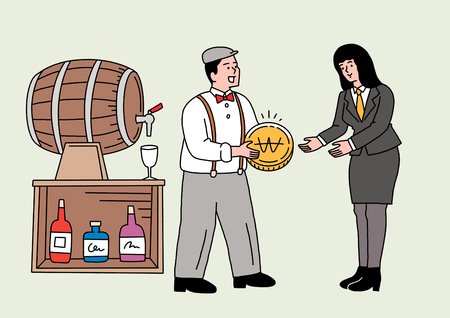 Illustration of a man giving an woman a gold coin with a barrel and drinks