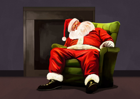 Illustration of Santa Claus sitting in a green chair