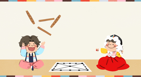 Boy and girl playing Korean traditional game vector illustration