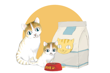 Illustration of lovely and cute cats Illustration
