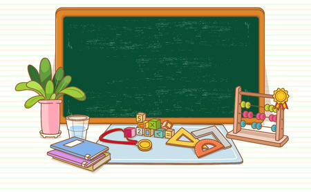 Illustration of an empty board with books, a plant and rulers Ilustracja