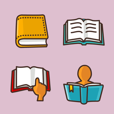 Flat icons set of school objects and education items