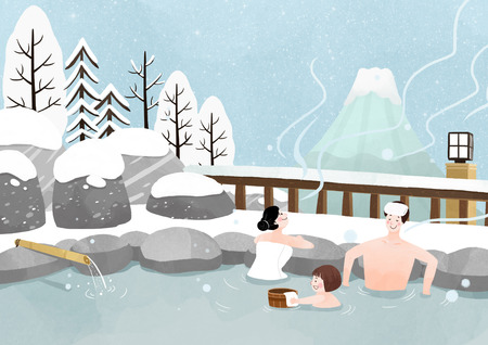 Illustration of people enjoying the winter season Stock Illustratie
