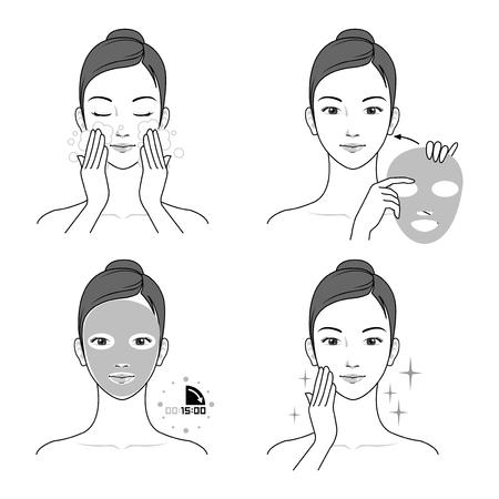 Female applying a face mask process vector illustration Ilustração