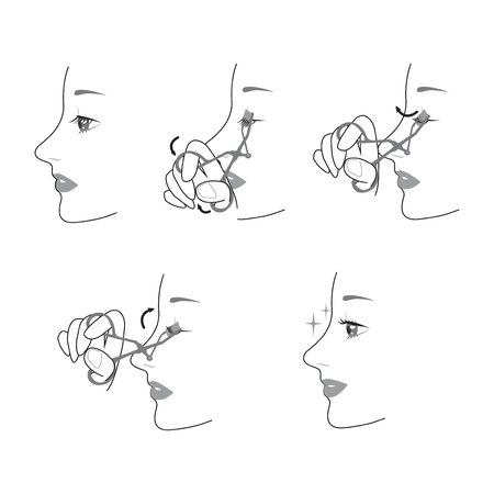 Process of curling eyelashes vector illustration Archivio Fotografico - 98788188