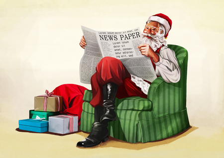 Santa Claus sitting and reading the news vector illustration