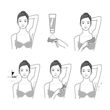 Process of applying lotion for shaving the armpit vector illustration Illustration