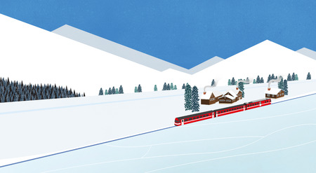 Winter landscape with forest and mountains flat design illustration
