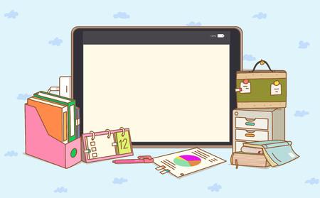 Ilustración de una tableta con archivos y libros Foto de archivo - 98768418