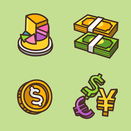 Flat icons set of money related items 向量圖像