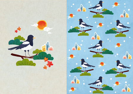 Vector pattern design set related to the winter season