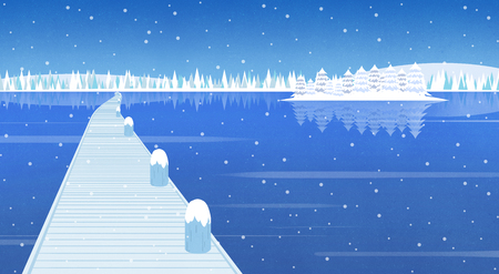 Winter landschap platte ontwerp illustratie Vector Illustratie