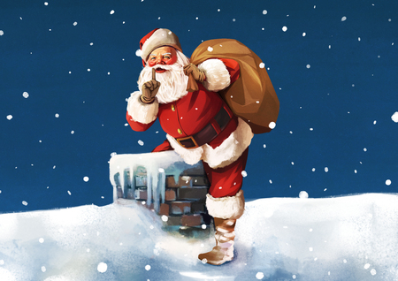 Santa claus carrying a bag in snow on a roof