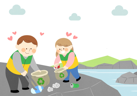 People cleaning near a river vector illustration
