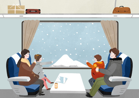 Illustration of people Enjoying the winter season Ilustrace