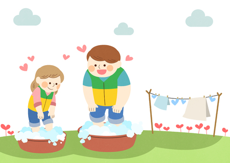 Male and female doing the laundry vector illustration