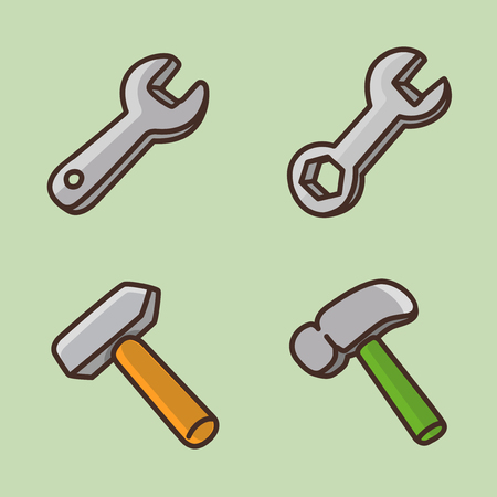 Flat icons set of tools vector illustration