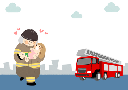 Illustration of a firefighter saving a woman Çizim