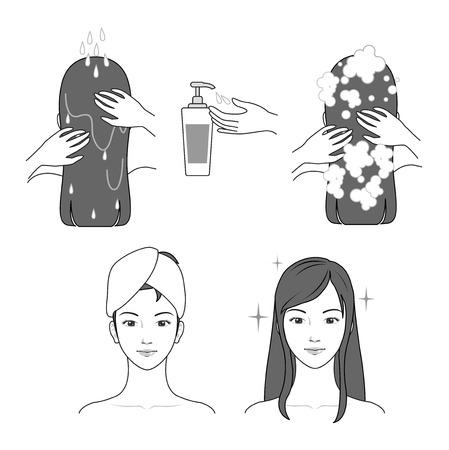 Shampoo application process vector illustration Archivio Fotografico - 98839702