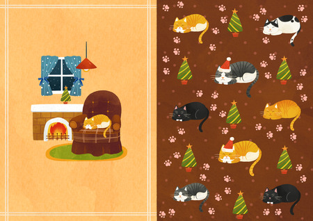 Vector pattern design related to the winter season  イラスト・ベクター素材