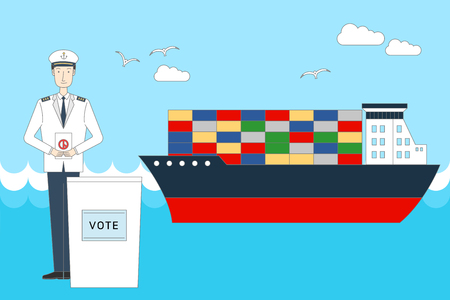 Vector illustration for political campaign with man and boat design. Illustration