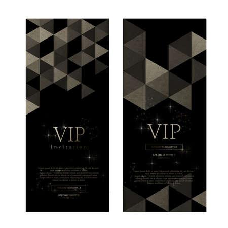 VIP premium invitation cards design. Simply Black design template set