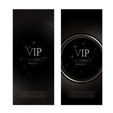 VIP premium invitation cards design. Simply Black design template set_017
