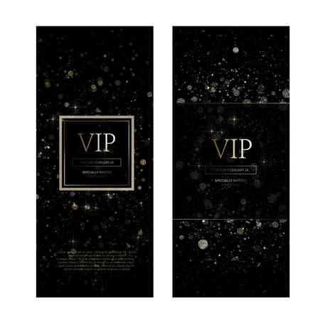 VIP premium invitation cards design. Simply Black design template set_023