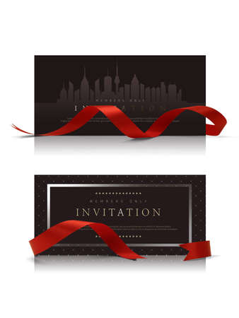 Black color voucher gift, invitation, coupon template with red ribbon frame and a bow