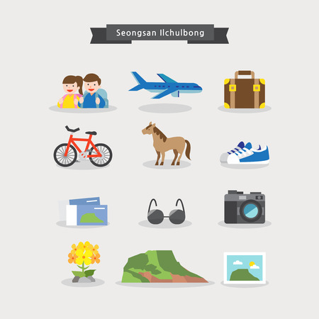 Vector - Sights of Korean tourist attraction icons set, flat style 004 Illustration