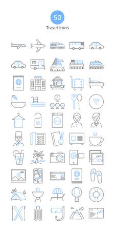 Modern thin line icons set. Travel icons set.
