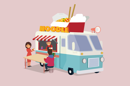 Vector - Illustrated food truck collection. colorful flat design for street food and cafe truck. 008