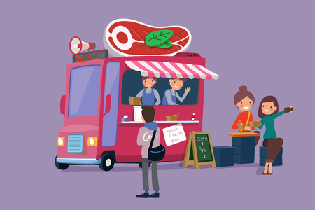 Vector - Illustrated food truck collection. colorful flat design for street food and cafe truck. 007