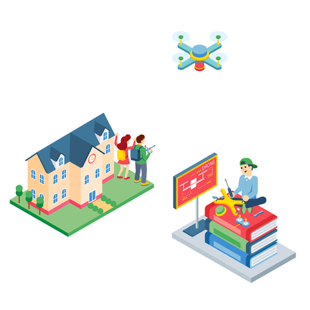 Vector - related to use of drone illustration. how to use drone for our life. 010