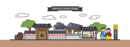 Vector - Korea tourist attraction in flat design illustration 037 Illustration