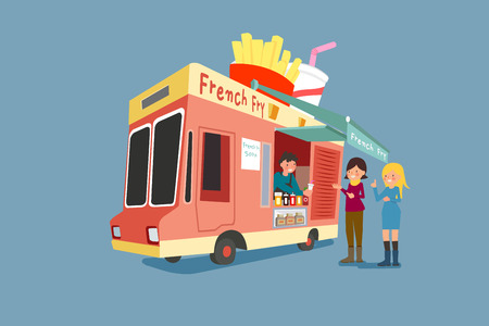 Vector - Illustrated food truck collection. colorful flat design for street food and cafe truck. 012 Çizim