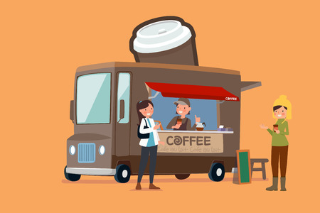 Vector - Illustrated food truck collection. colorful flat design for street food and cafe truck. 002 Vectores